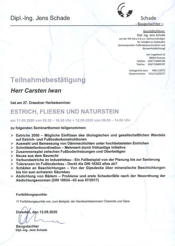 Weiterbildung - Seminar Fliesen, Estrich und Naturstein