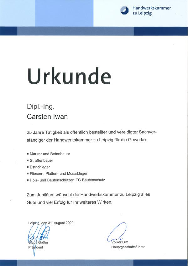25 Jahre Sachverständigentätigkeit vor der Handwerkskammer zu Leipzig